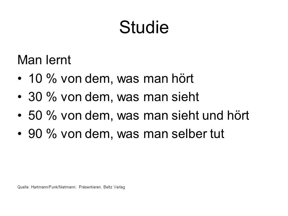 Studie Man lernt 10 % von dem, was man hört
