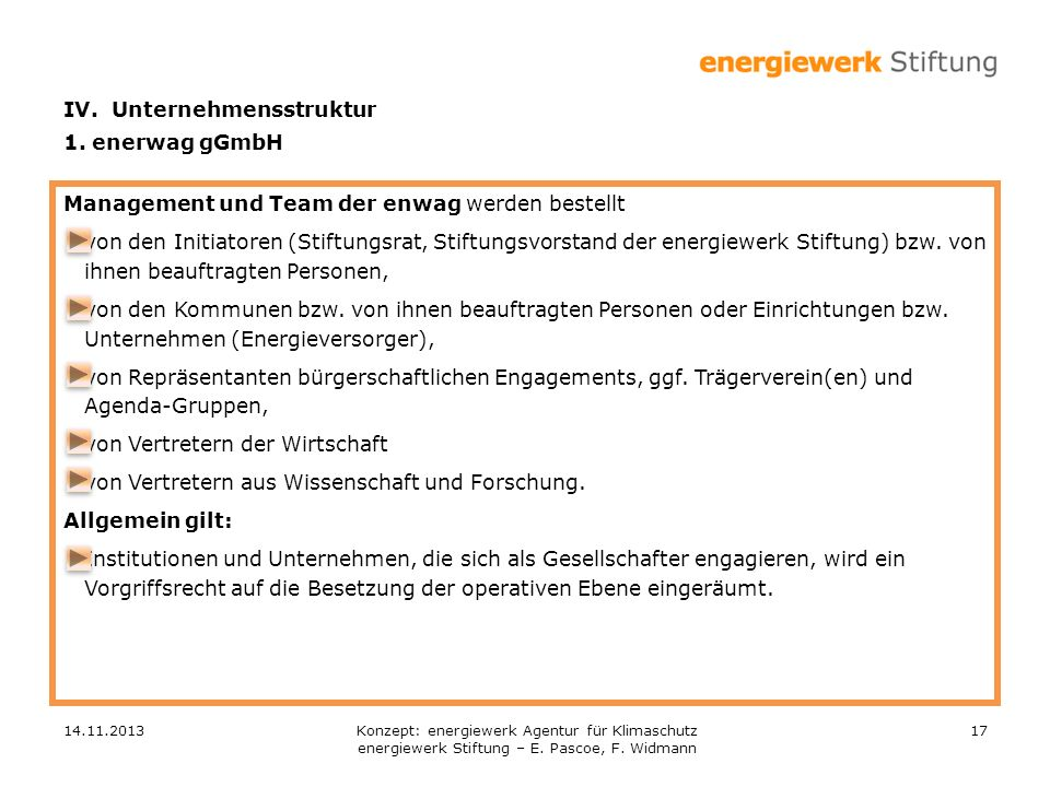 IV. Unternehmensstruktur 1. enerwag gGmbH