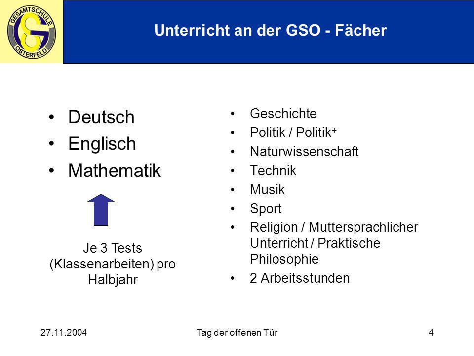 Unterricht an der GSO - Fächer