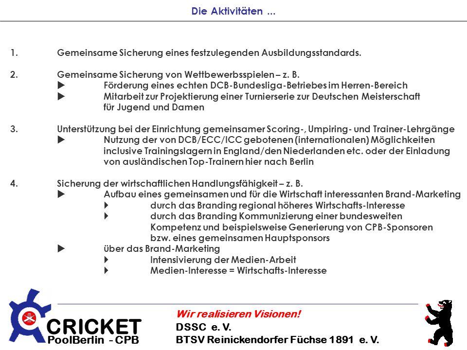 Die Aktivitäten ... 1. Gemeinsame Sicherung eines festzulegenden Ausbildungsstandards. 2. Gemeinsame Sicherung von Wettbewerbsspielen – z. B.