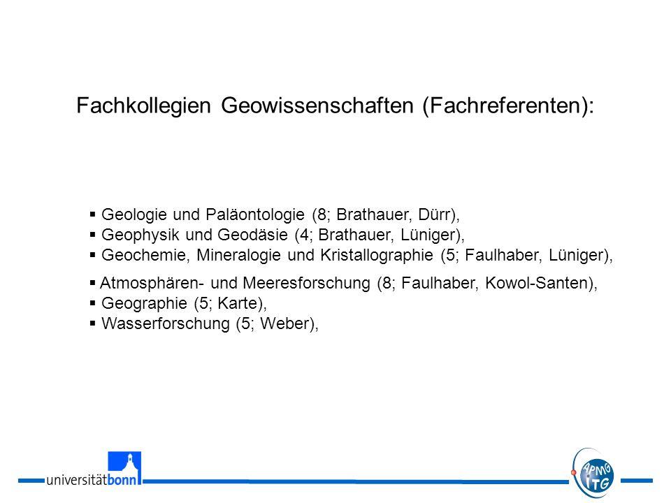 Fachkollegien Geowissenschaften (Fachreferenten):