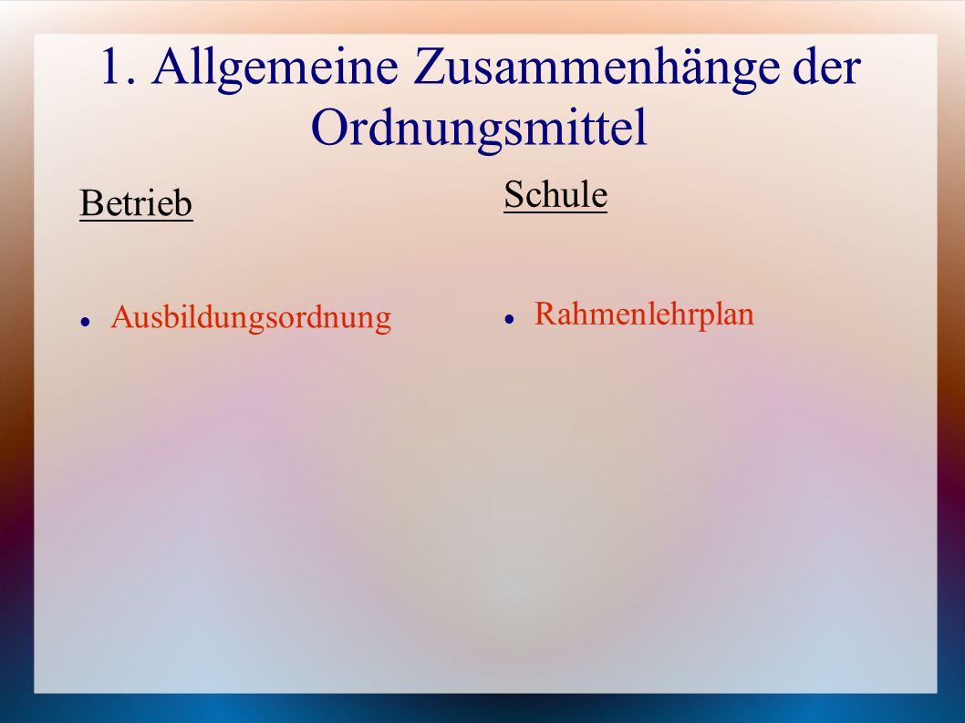 1. Allgemeine Zusammenhänge der Ordnungsmittel