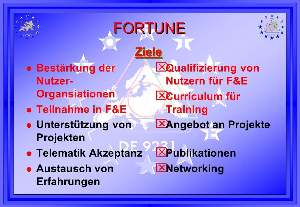 Ziele Bestärkung der Nutzer-Organsiationen Teilnahme in F&E