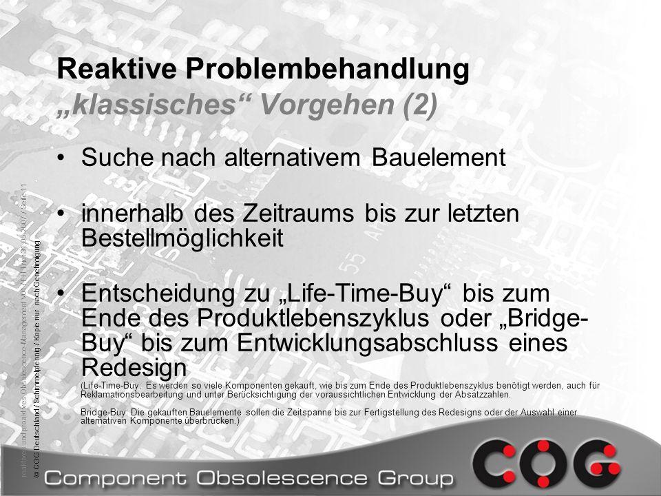 """Reaktive Problembehandlung """"klassisches Vorgehen (2)"""
