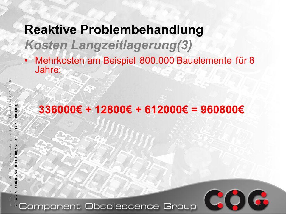 Reaktive Problembehandlung Kosten Langzeitlagerung(3)