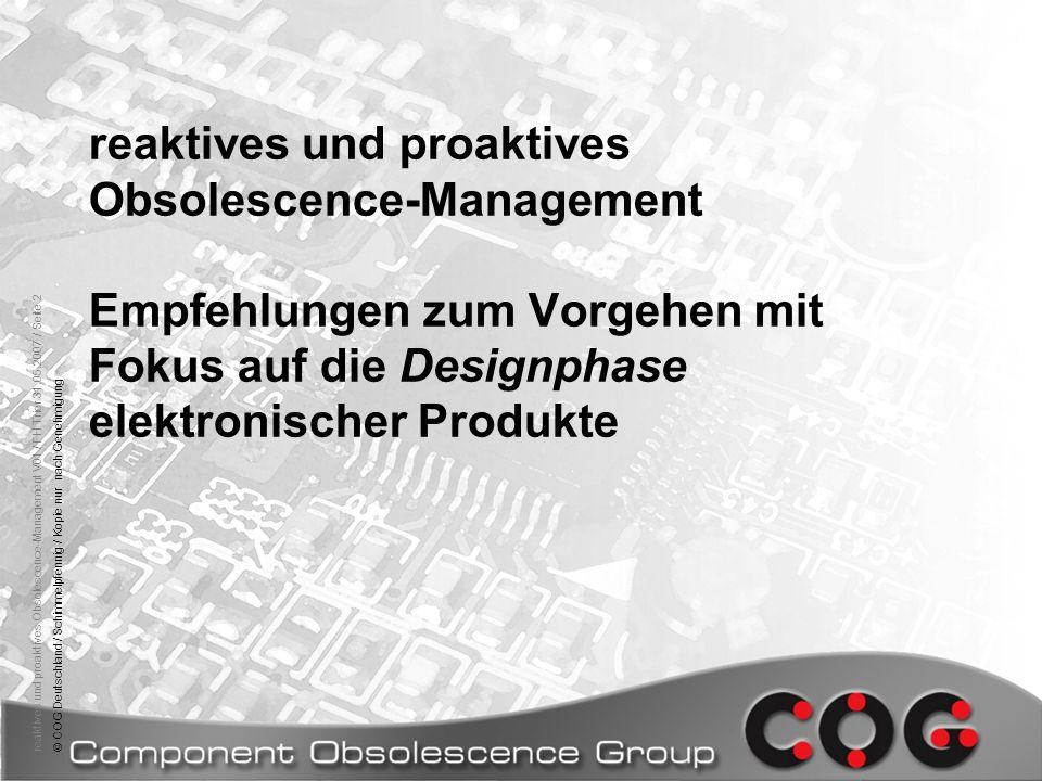 reaktives und proaktives Obsolescence-Management Empfehlungen zum Vorgehen mit Fokus auf die Designphase elektronischer Produkte