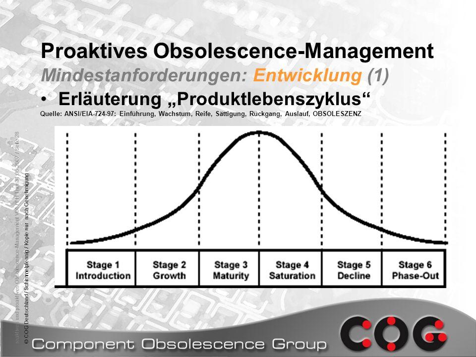 Proaktives Obsolescence-Management Mindestanforderungen: Entwicklung (1)