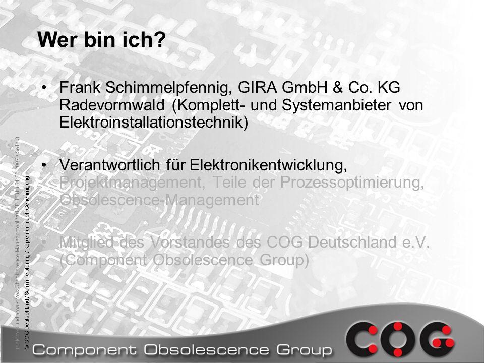 Wer bin ich Frank Schimmelpfennig, GIRA GmbH & Co. KG Radevormwald (Komplett- und Systemanbieter von Elektroinstallationstechnik)