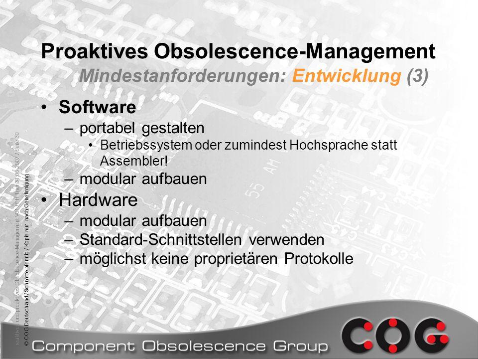 Proaktives Obsolescence-Management Mindestanforderungen: Entwicklung (3)