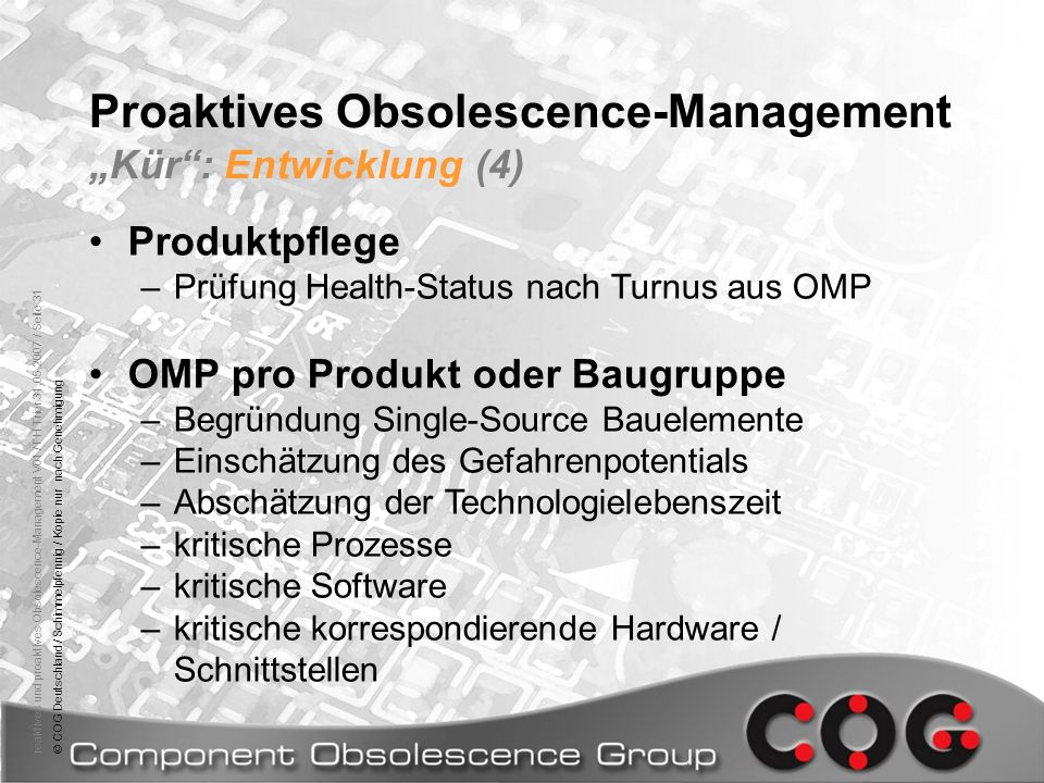 "Proaktives Obsolescence-Management ""Kür : Entwicklung (4)"