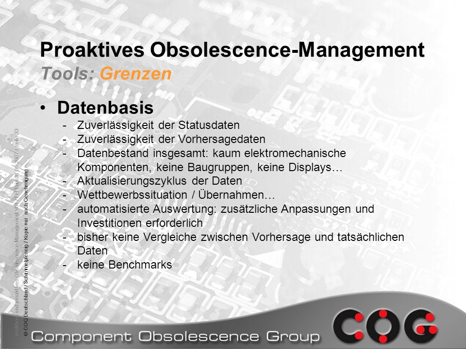 Proaktives Obsolescence-Management Tools: Grenzen