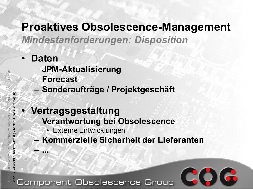 Proaktives Obsolescence-Management Mindestanforderungen: Disposition