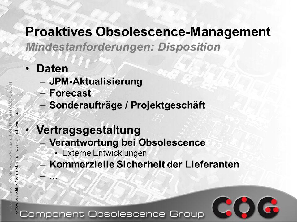 Proaktives Obsolescence-Management Mindestanforderungen: Disposition