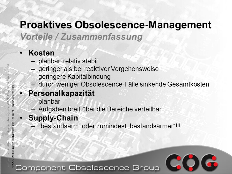 Proaktives Obsolescence-Management Vorteile / Zusammenfassung
