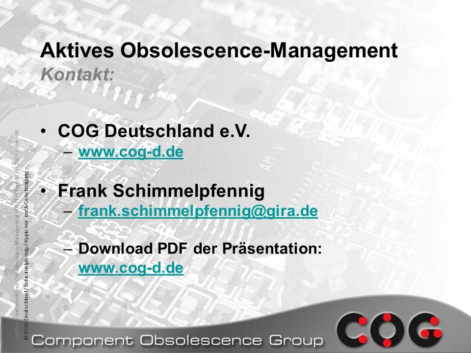 Aktives Obsolescence-Management Kontakt:
