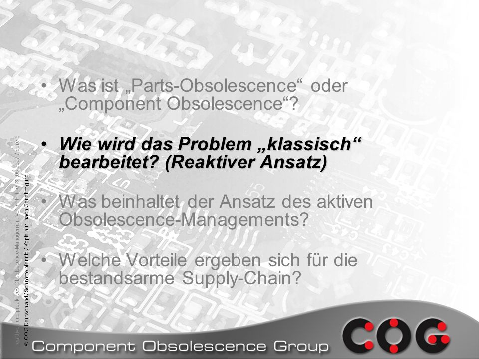"""Was ist """"Parts-Obsolescence oder """"Component Obsolescence"""
