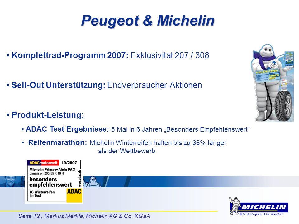 Peugeot & Michelin Komplettrad-Programm 2007: Exklusivität 207 / 308