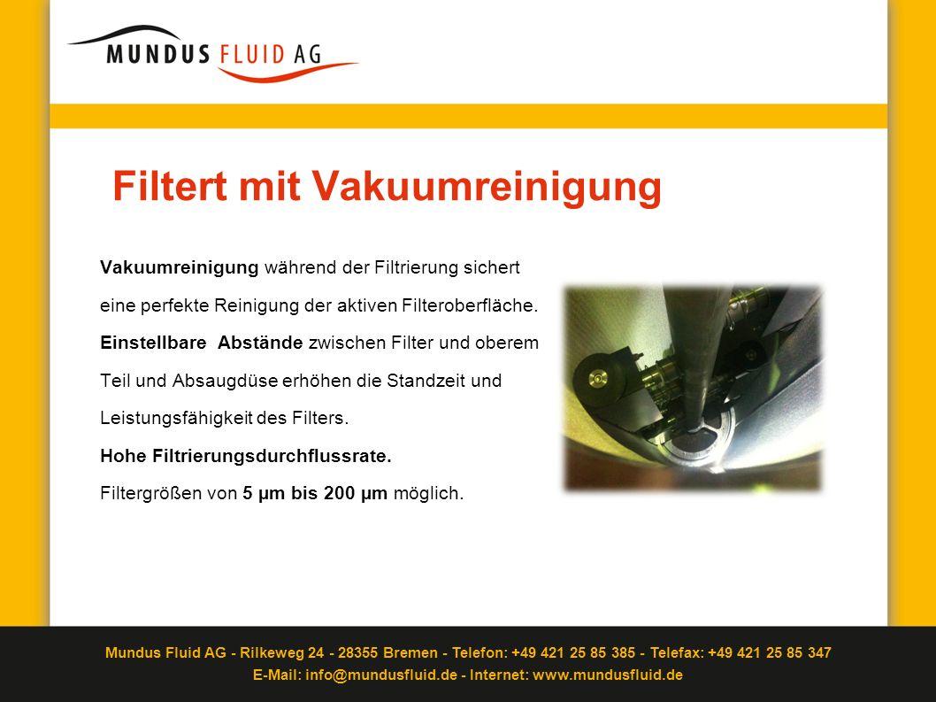 Filtert mit Vakuumreinigung