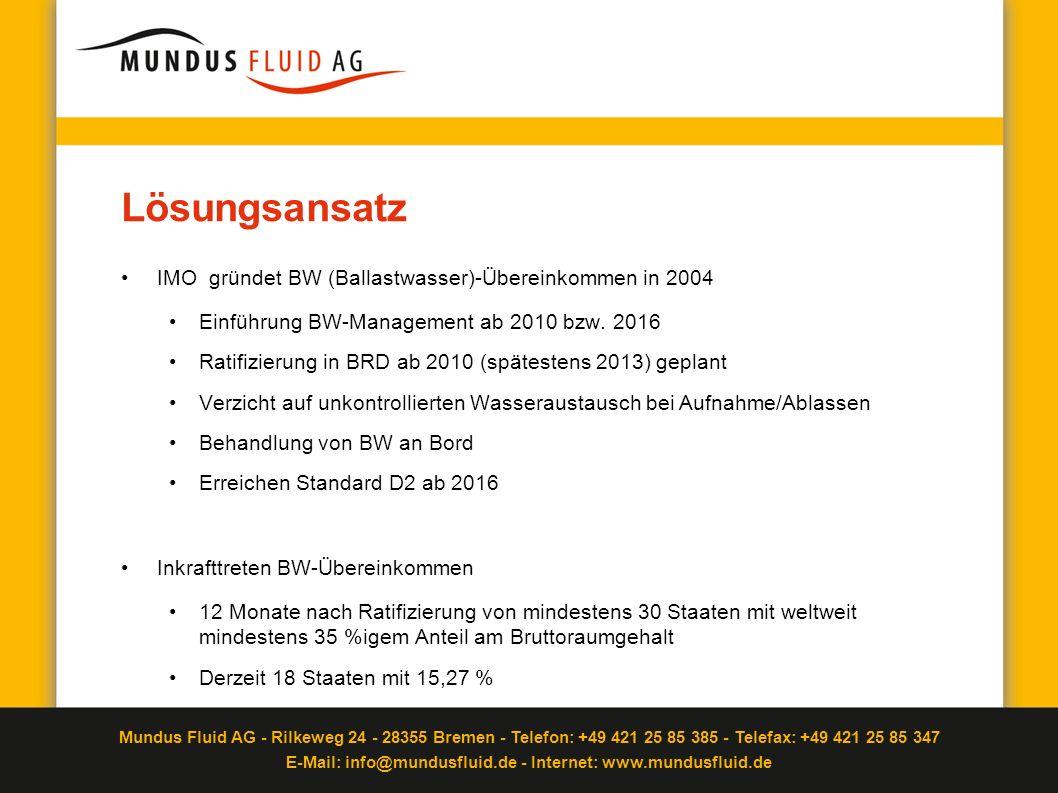 Lösungsansatz IMO gründet BW (Ballastwasser)-Übereinkommen in 2004