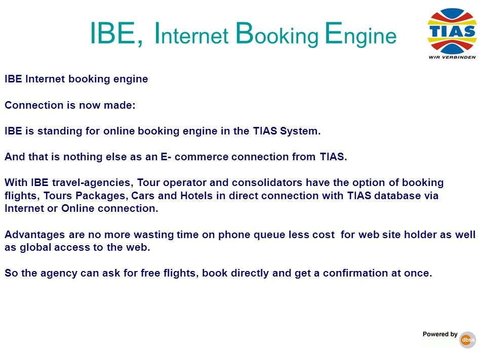 IBE, Internet Booking Engine