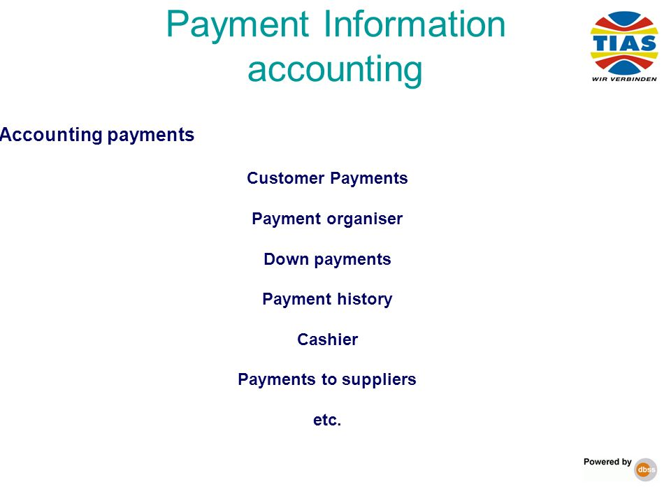 Payment Information accounting