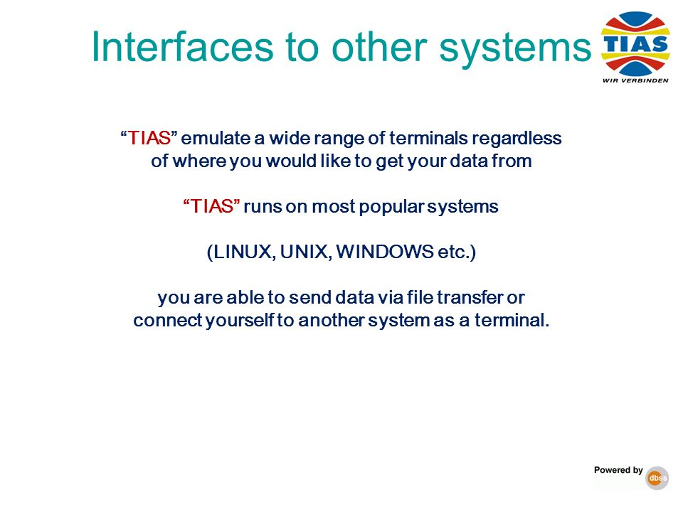 Interfaces to other systems