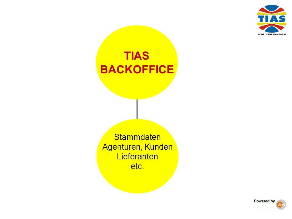 TIAS BACKOFFICE Stammdaten Agenturen, Kunden Lieferanten etc. 6