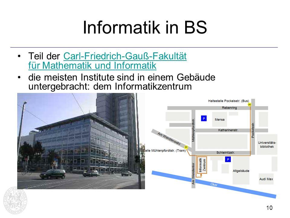 Informatik in BS Teil der Carl-Friedrich-Gauß-Fakultät für Mathematik und Informatik.