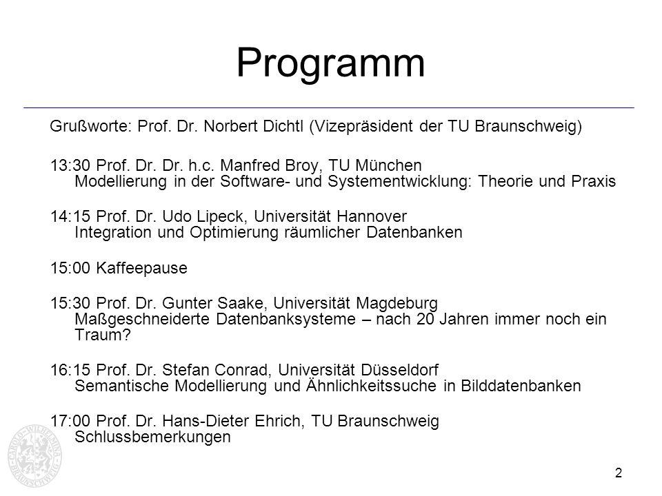 Programm Grußworte: Prof. Dr. Norbert Dichtl (Vizepräsident der TU Braunschweig)