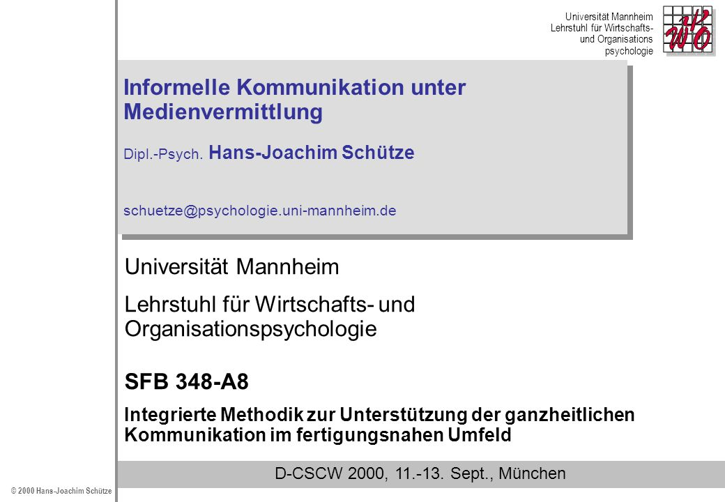 Lehrstuhl für Wirtschafts- und Organisationspsychologie