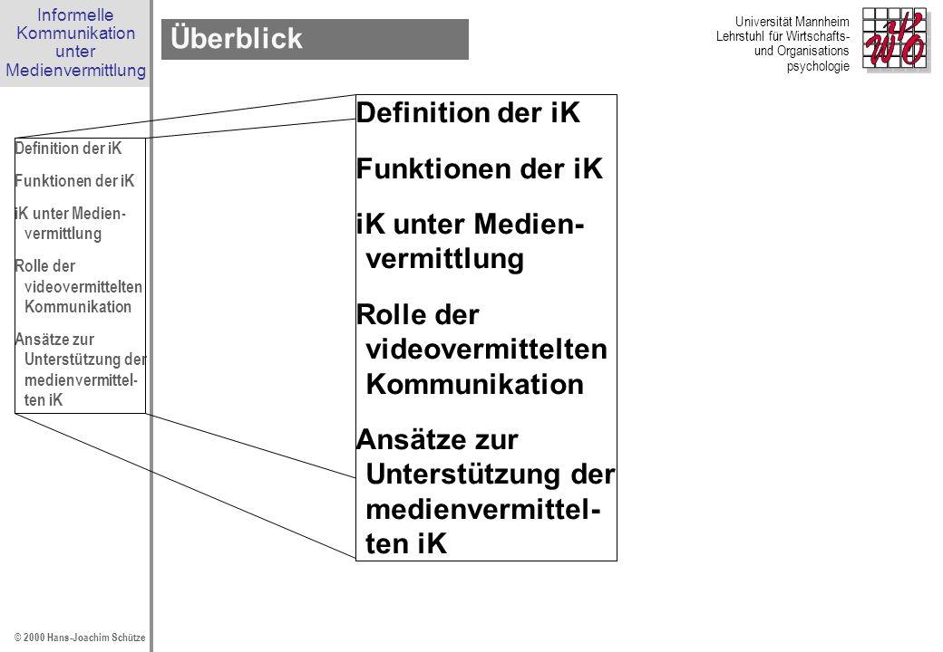 Überblick Definition der iK. Funktionen der iK. iK unter Medien- vermittlung. Rolle der videovermittelten Kommunikation.