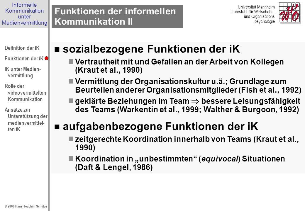 Funktionen der informellen Kommunikation II