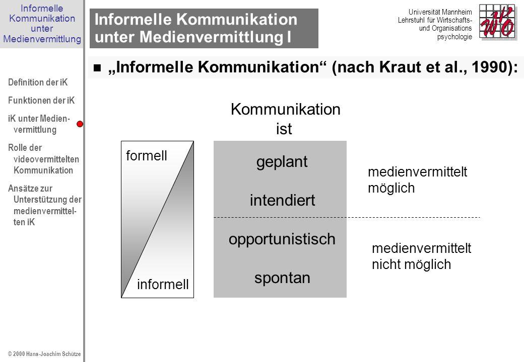 Informelle Kommunikation unter Medienvermittlung I