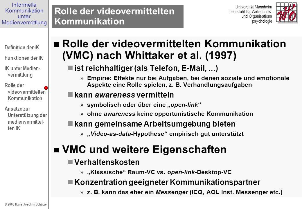 Rolle der videovermittelten Kommunikation