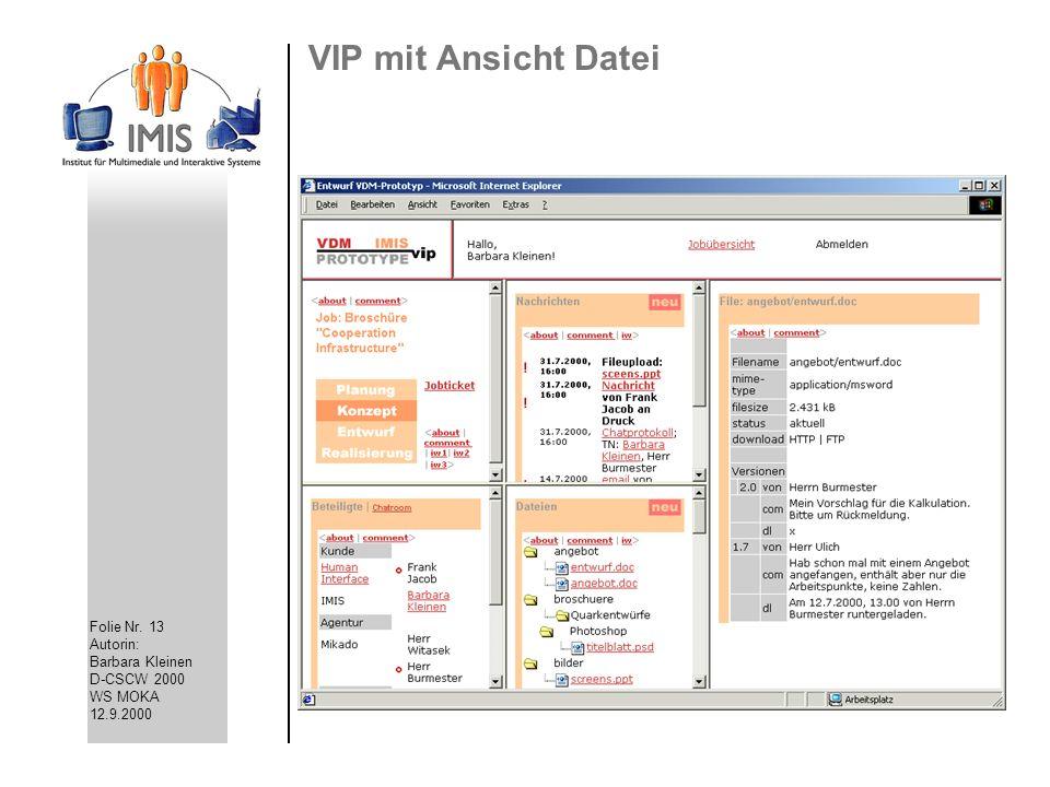 VIP mit Ansicht Datei