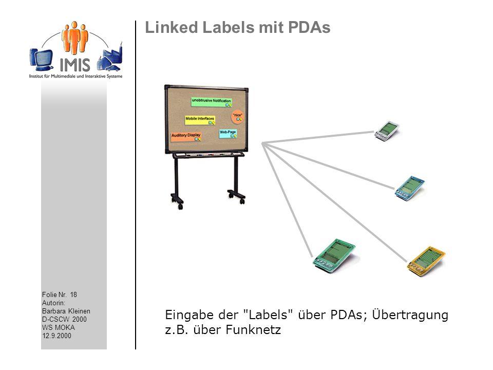 Linked Labels mit PDAs Eingabe der Labels über PDAs; Übertragung z.B. über Funknetz