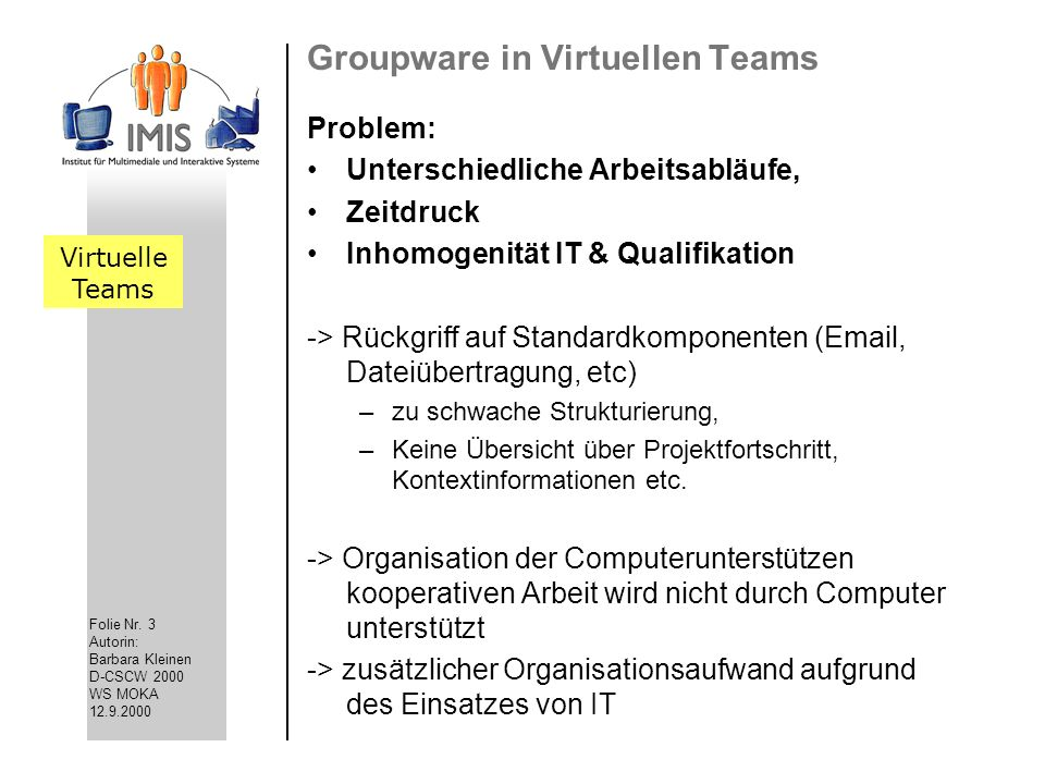 Groupware in Virtuellen Teams