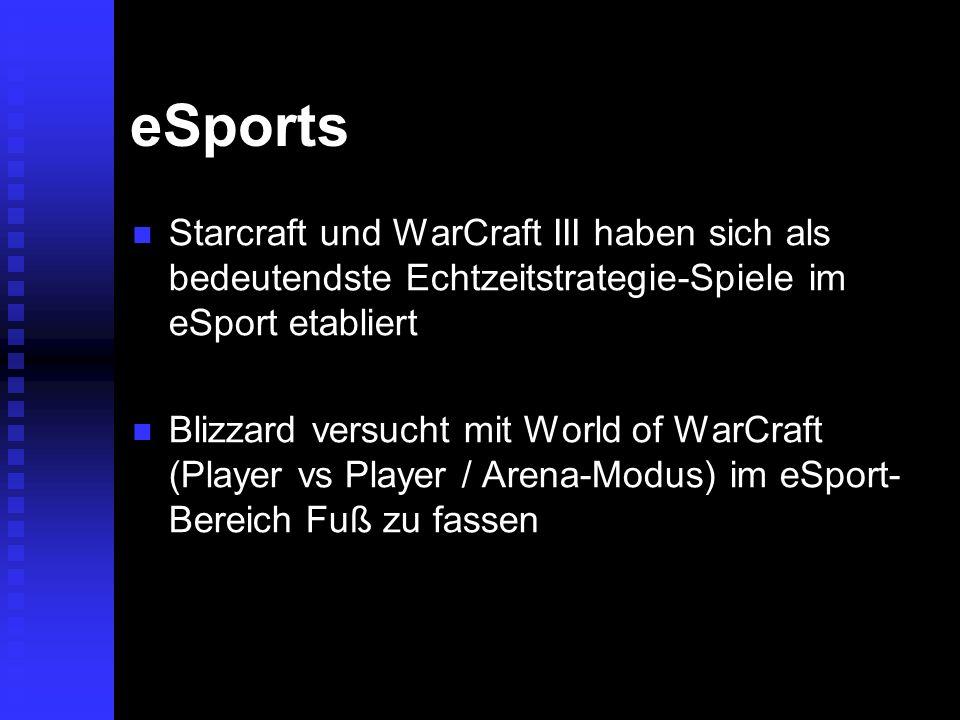 eSportsStarcraft und WarCraft III haben sich als bedeutendste Echtzeitstrategie-Spiele im eSport etabliert.