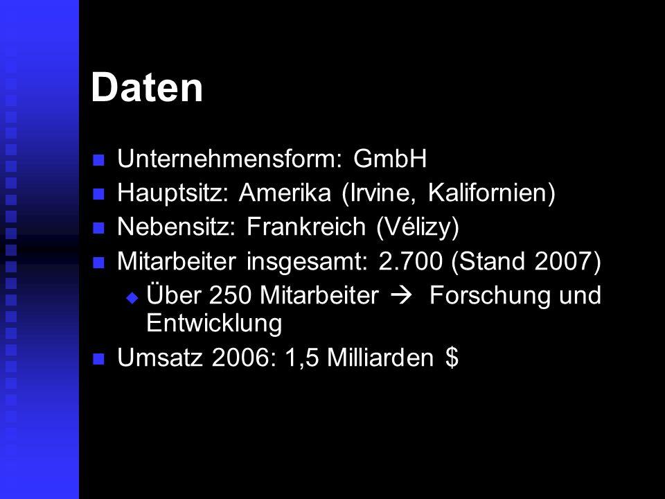 Daten Unternehmensform: GmbH Hauptsitz: Amerika (Irvine, Kalifornien)