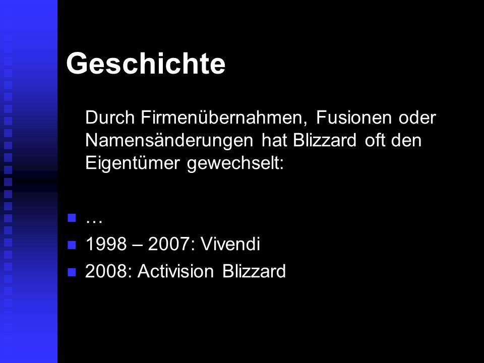 Geschichte Durch Firmenübernahmen, Fusionen oder Namensänderungen hat Blizzard oft den Eigentümer gewechselt: