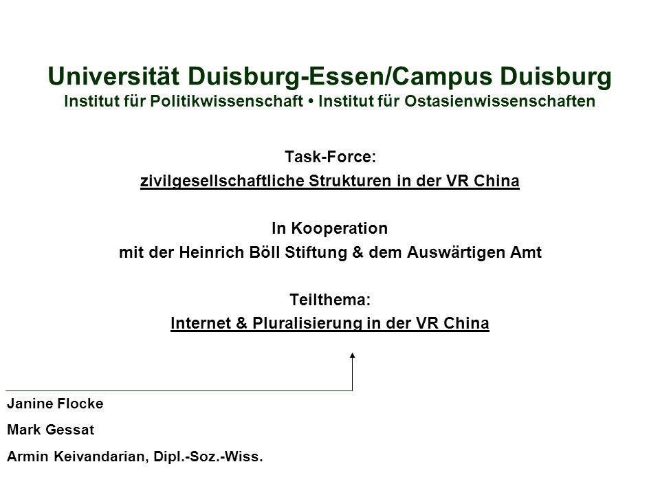 Universität Duisburg-Essen/Campus Duisburg Institut für Politikwissenschaft • Institut für Ostasienwissenschaften