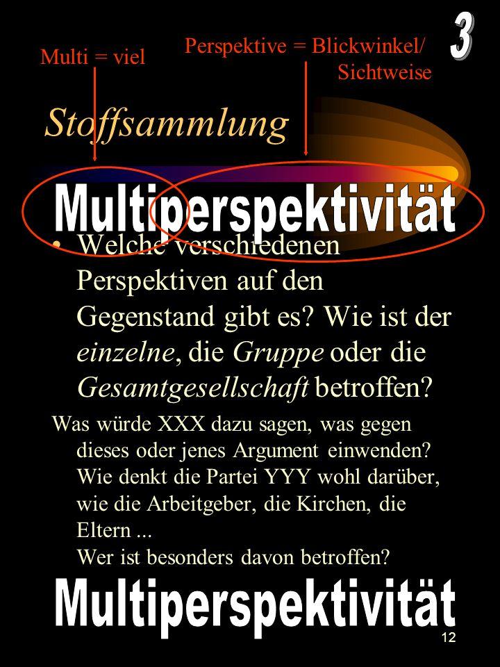 Stoffsammlung 3 Multiperspektivität