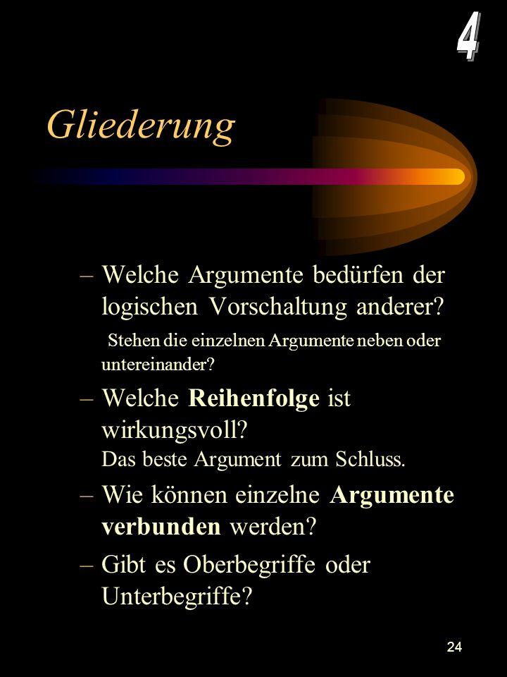 4 Gliederung. Welche Argumente bedürfen der logischen Vorschaltung anderer Stehen die einzelnen Argumente neben oder untereinander