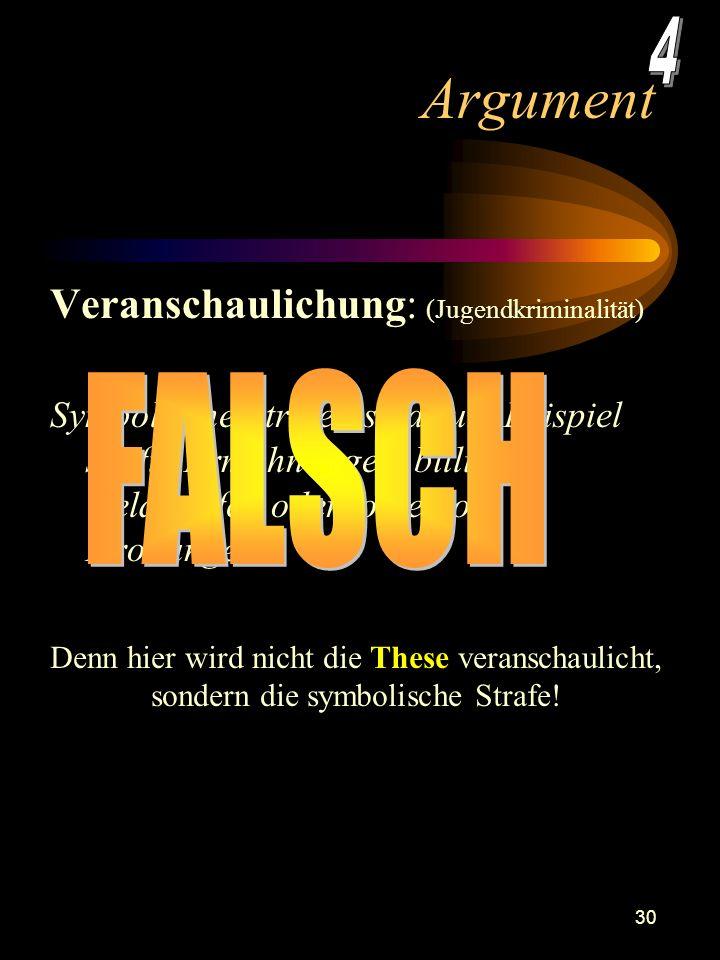 Argument 4 FALSCH Veranschaulichung: (Jugendkriminalität)