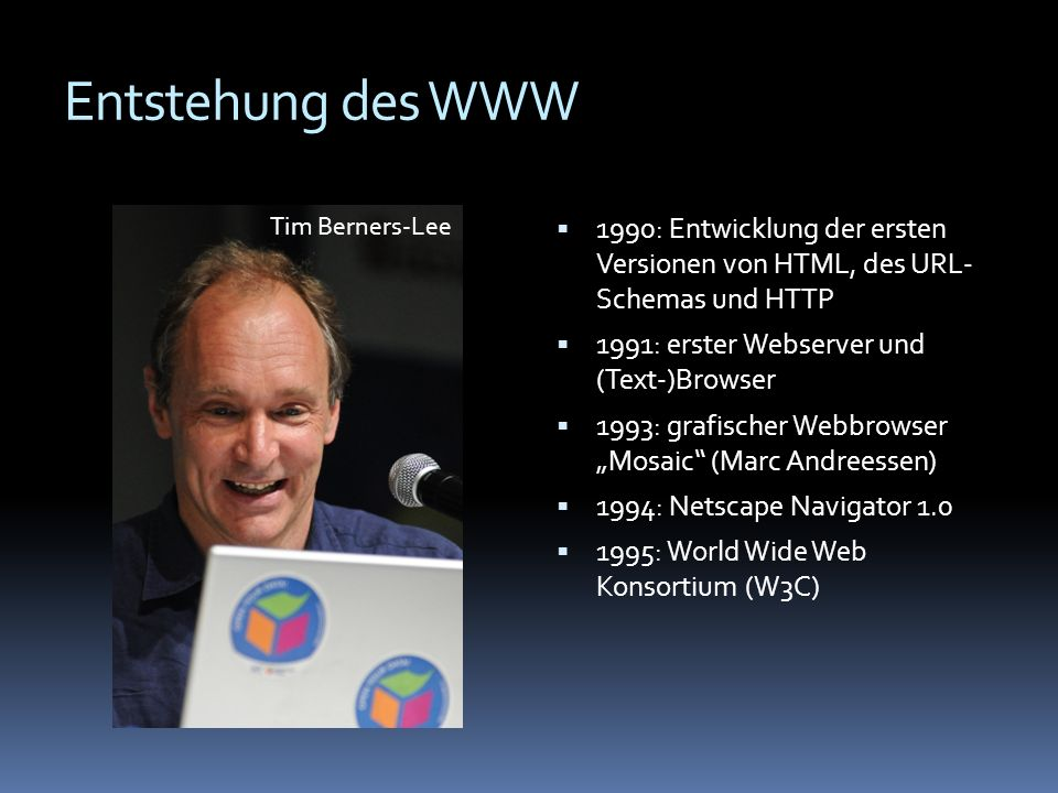 Entstehung des WWW Tim Berners-Lee. 1990: Entwicklung der ersten Versionen von HTML, des URL- Schemas und HTTP.