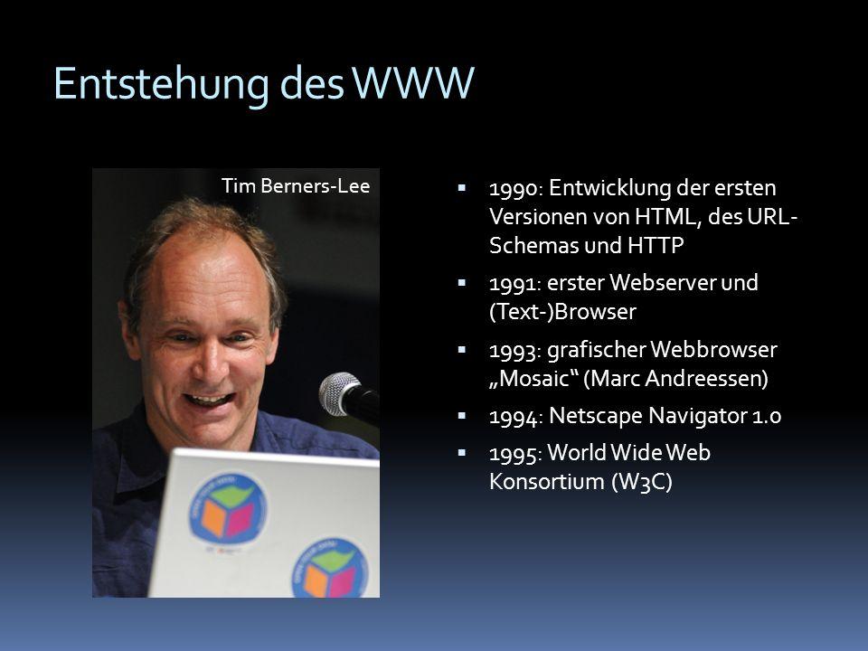 Entstehung des WWWTim Berners-Lee. 1990: Entwicklung der ersten Versionen von HTML, des URL- Schemas und HTTP.