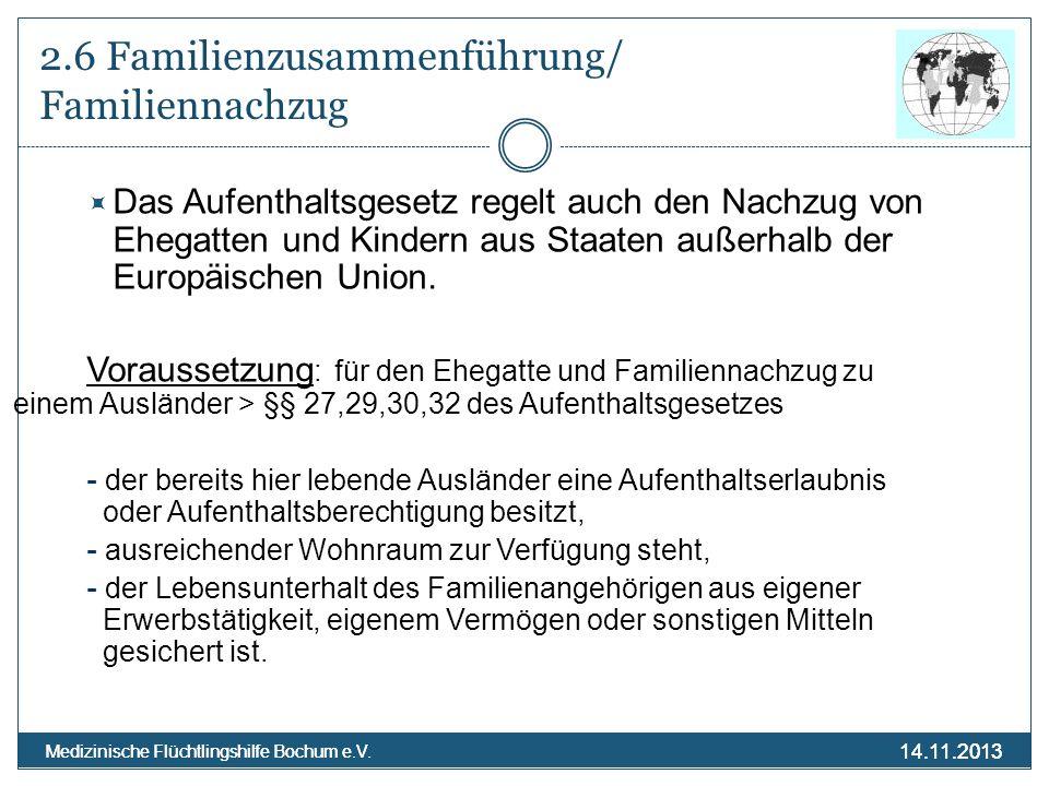 2.6 Familienzusammenführung/ Familiennachzug