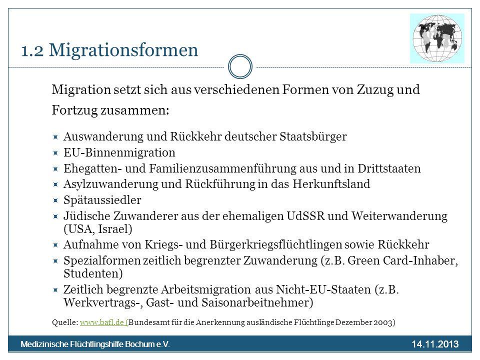 1.2 MigrationsformenMigration setzt sich aus verschiedenen Formen von Zuzug und. Fortzug zusammen: Auswanderung und Rückkehr deutscher Staatsbürger.