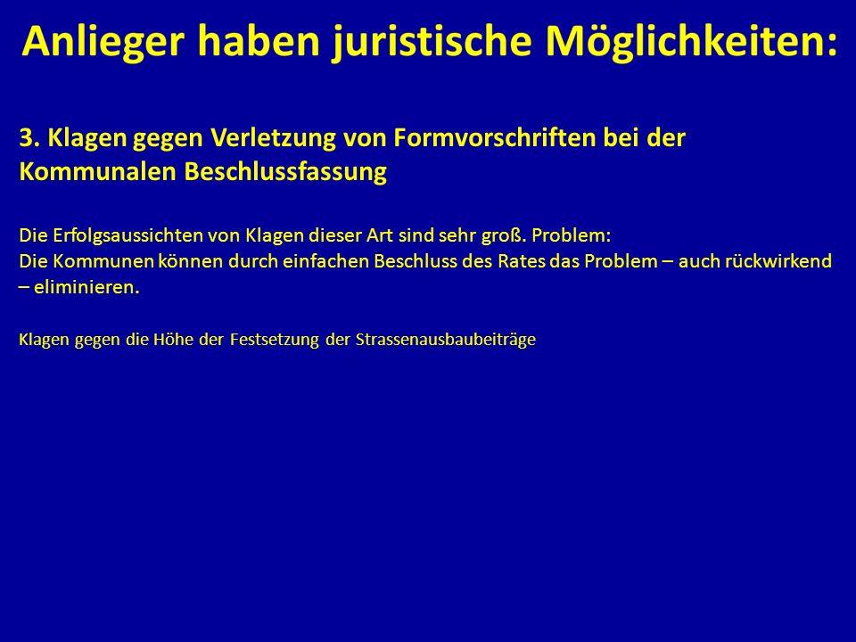 3. Klagen gegen Verletzung von Formvorschriften bei der Kommunalen Beschlussfassung