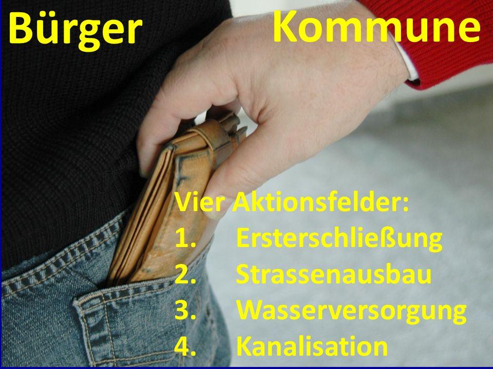 Kommune Bürger Vier Aktionsfelder: Ersterschließung Strassenausbau